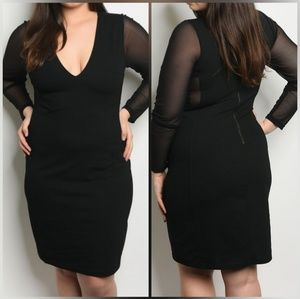 Plus Size Mesh Bodycon Longsleeve Dress - Black